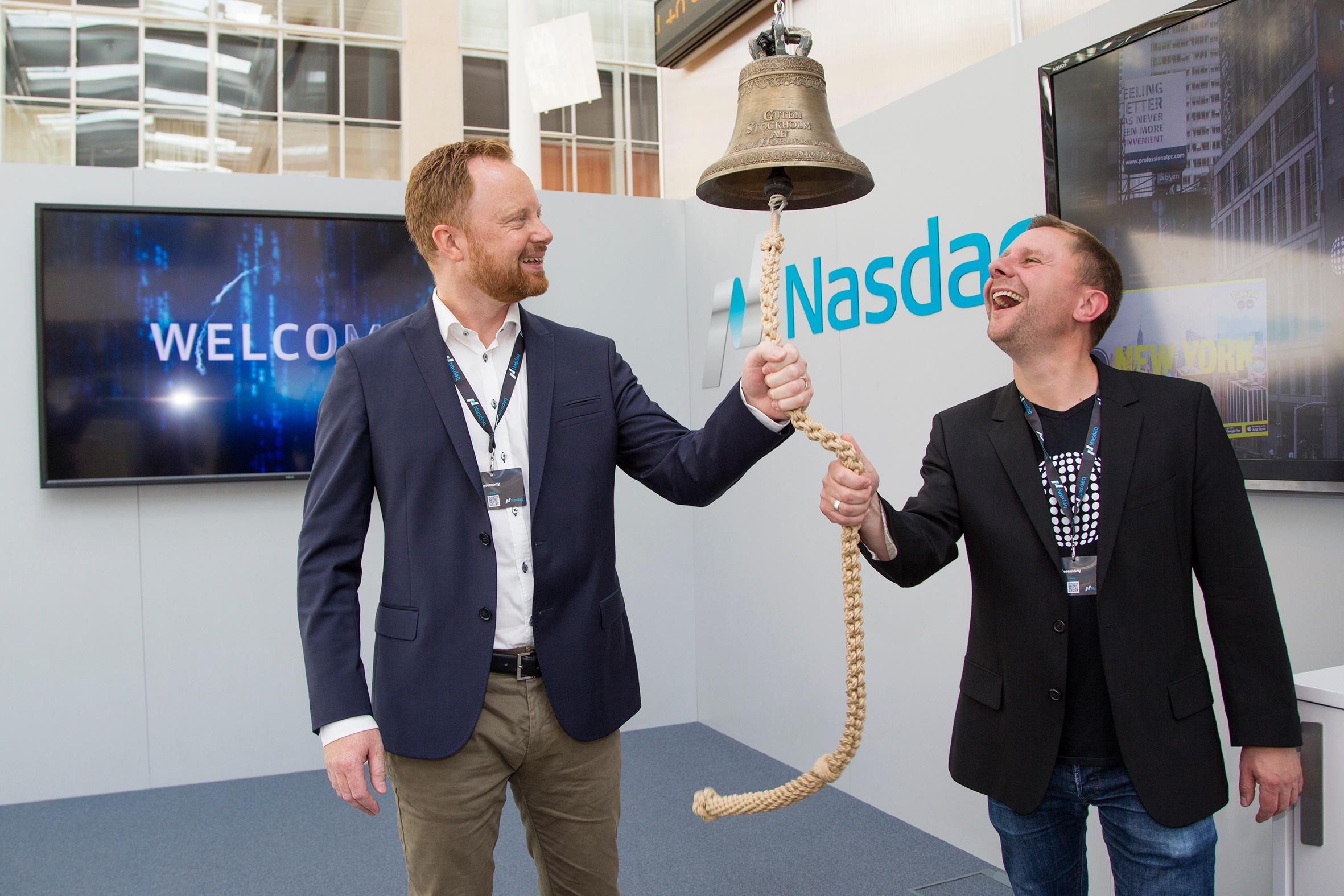 Realfiction ringing the bell at nasdaq HQ